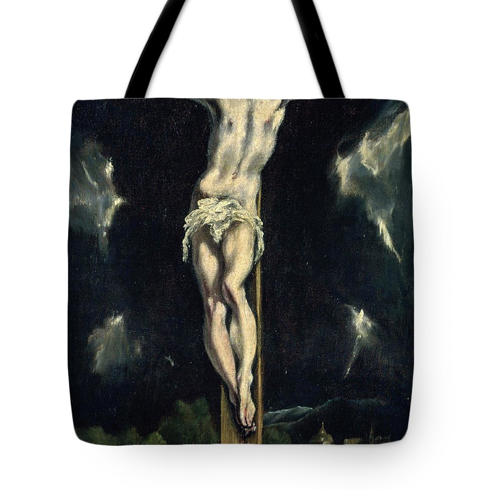 Christ Tote Bag featuring the painting Christ On The Cross by El Greco