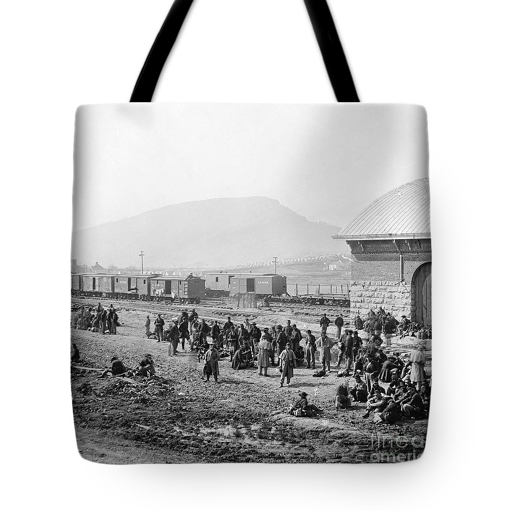 1864 Tote Bag featuring the photograph Civil War: Prisoners, 1864 by Granger