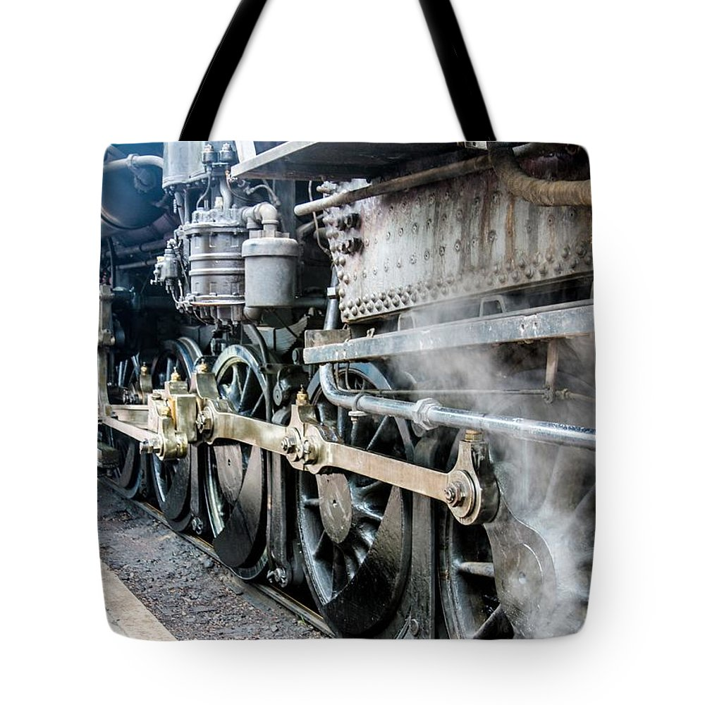 This Is A Photo Of Drive Wheels On Engine 90 Tote Bag featuring the photograph Drive Wheels by William Rogers