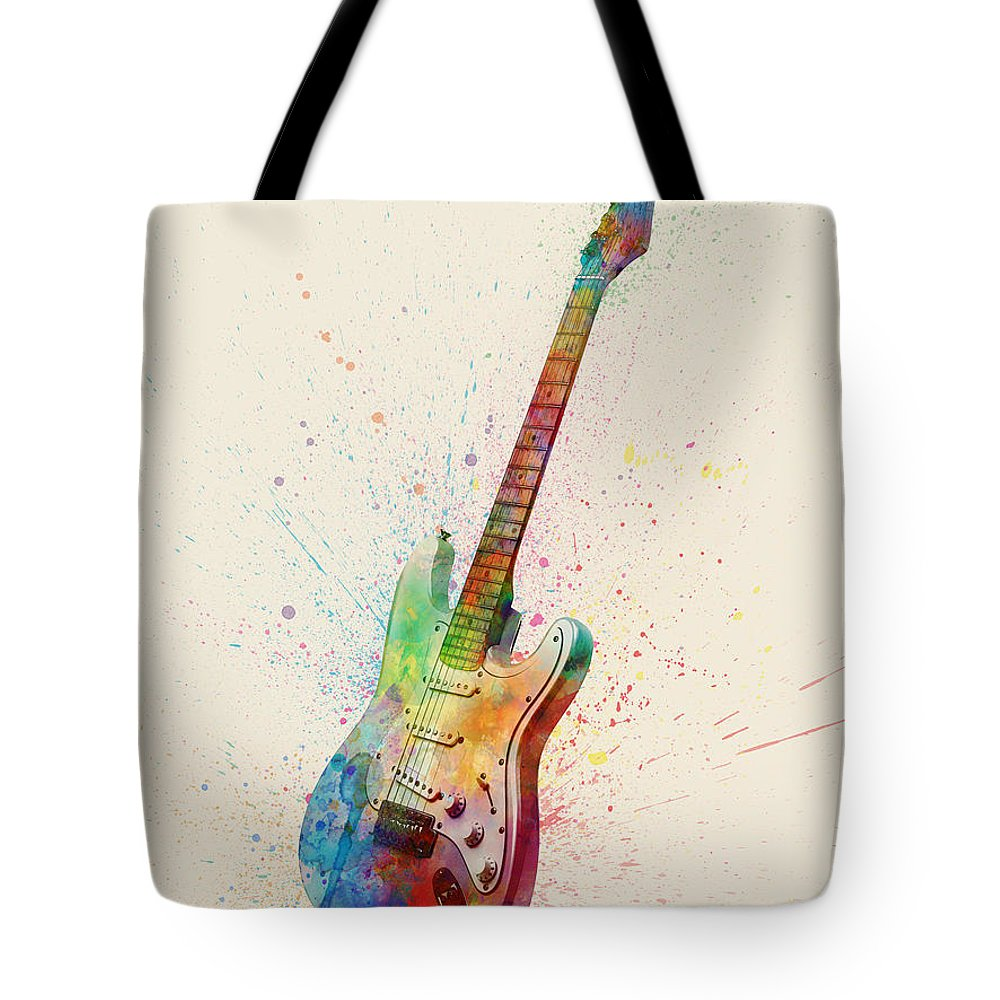 Electric Guitar Tote Bag featuring the digital art Electric Guitar Abstract Watercolor 3 by Michael Tompsett