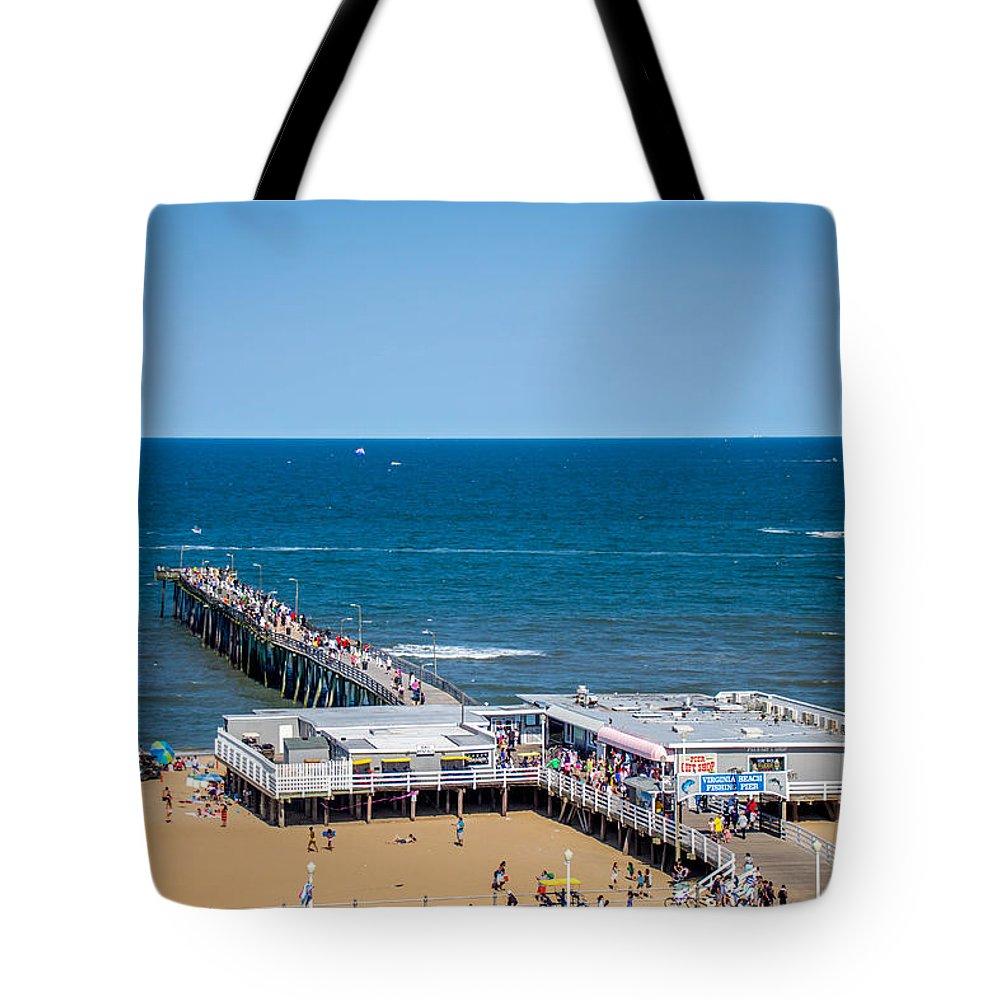 Color Blue Sea Ocean Virginia Beach Pier Fishing Sand Tote Bag featuring the photograph Fishing Pier by Samir Chokshi