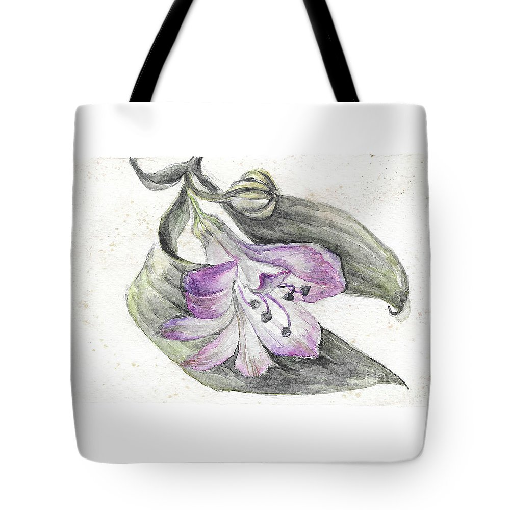 Flower Tote Bag featuring the painting Purple Flower by Yana Sadykova