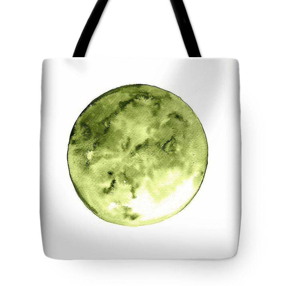 Moon Phase Wall Art Tote Bag featuring the painting Full Moon by Sweeping Girl