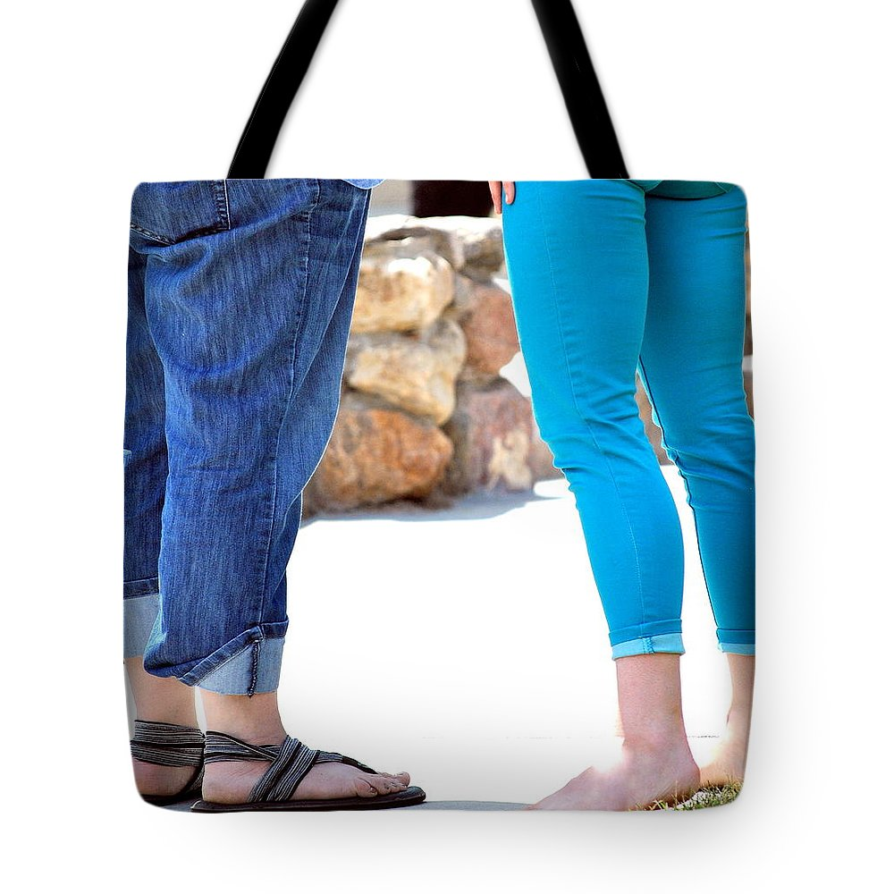 Girlfriends Tote Bag featuring the photograph Girlfriends. by Oscar Williams