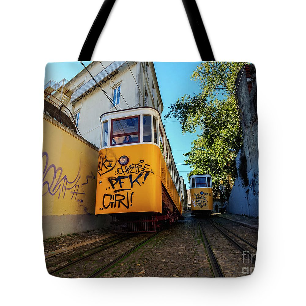 Gloria Tote Bag featuring the photograph Gloria Funicular, Lisbon, Portugal by Karol Kozlowski