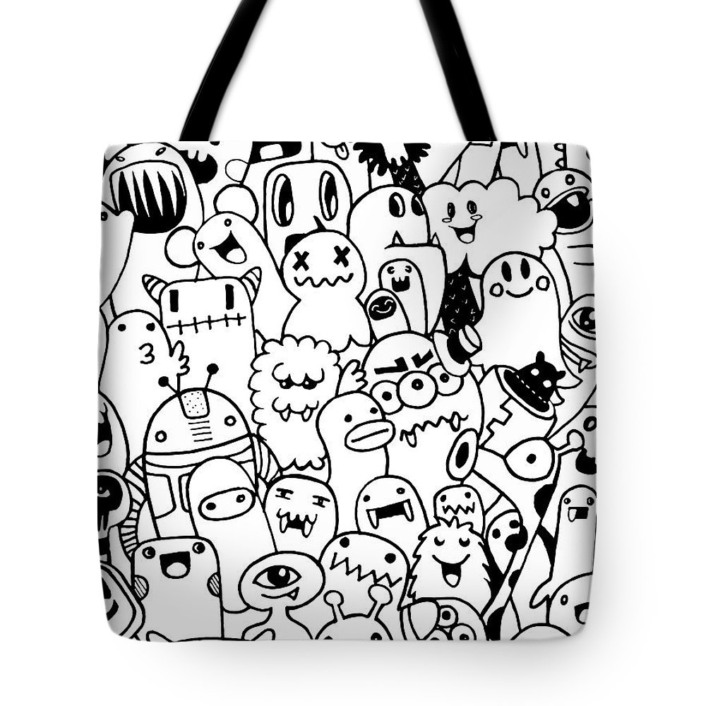 Hand Drawn Aliens And Monsters Cartoon Doodle Tote Bag For Sale By