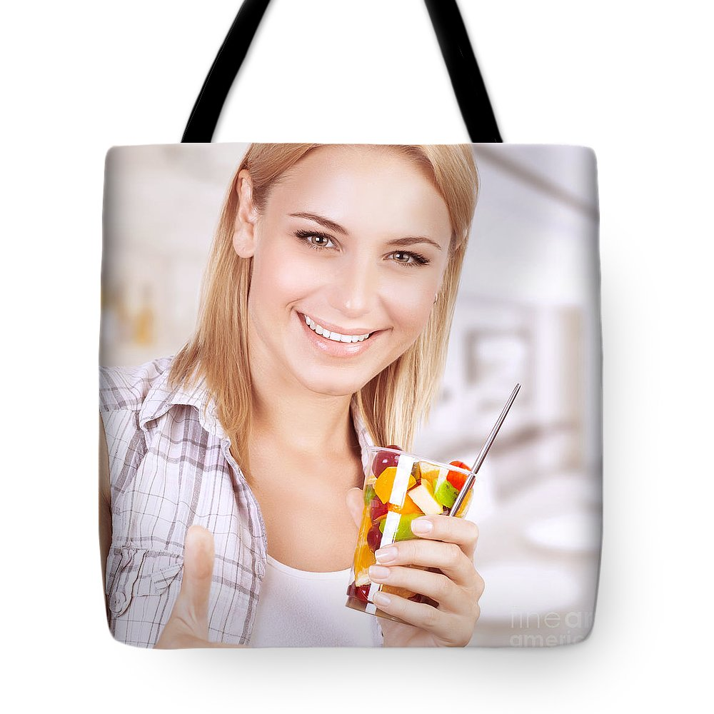 Adult Tote Bag featuring the photograph Healthy Eating Woman by Anna Om