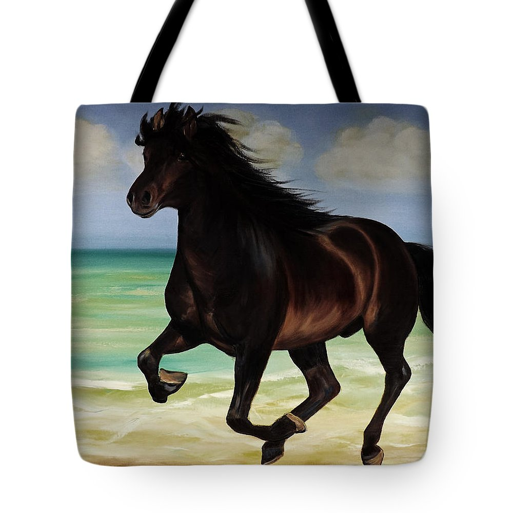 Horse Tote Bag featuring the painting Horses In Paradise Run by Gina De Gorna
