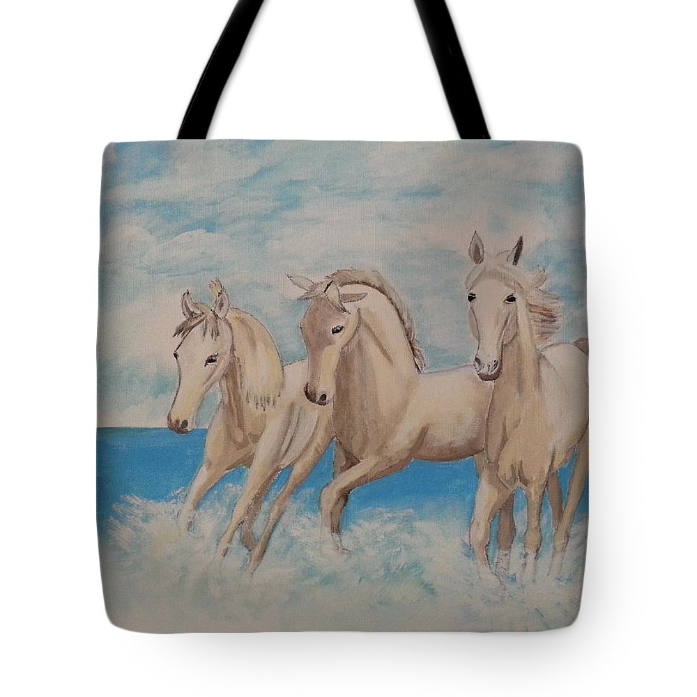 Horse Tote Bag featuring the painting 3 Horses by Janene Hall