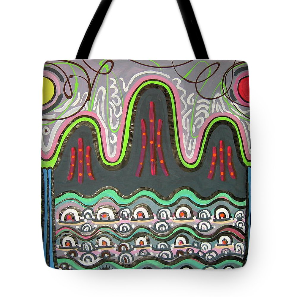 Korean Art Tote Bag featuring the painting Ilwolobongdo Abstract Landscape Painting2 by Seon-jeong Kim