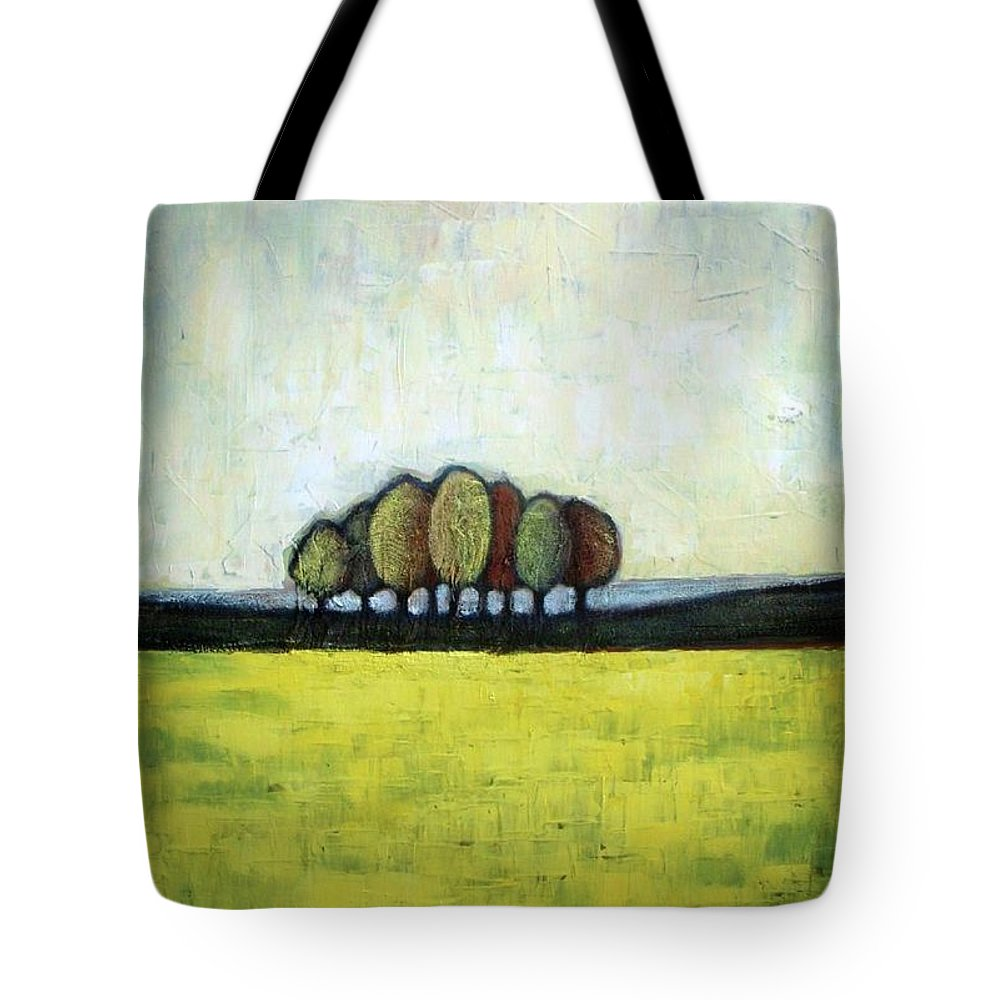 Abstract Landscape Tote Bag featuring the painting Indian Summer by Vesna Antic