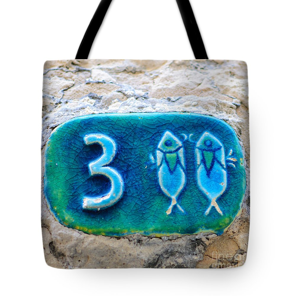 Israel Tote Bag featuring the photograph Jaffa, Pisces Zodiac Street Sign by Ilan Rosen