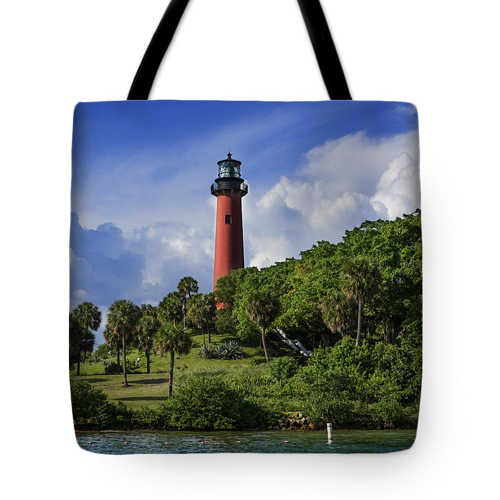 Lighthouses Tote Bag featuring the photograph Jupiter Lighthouse by Laura Fasulo