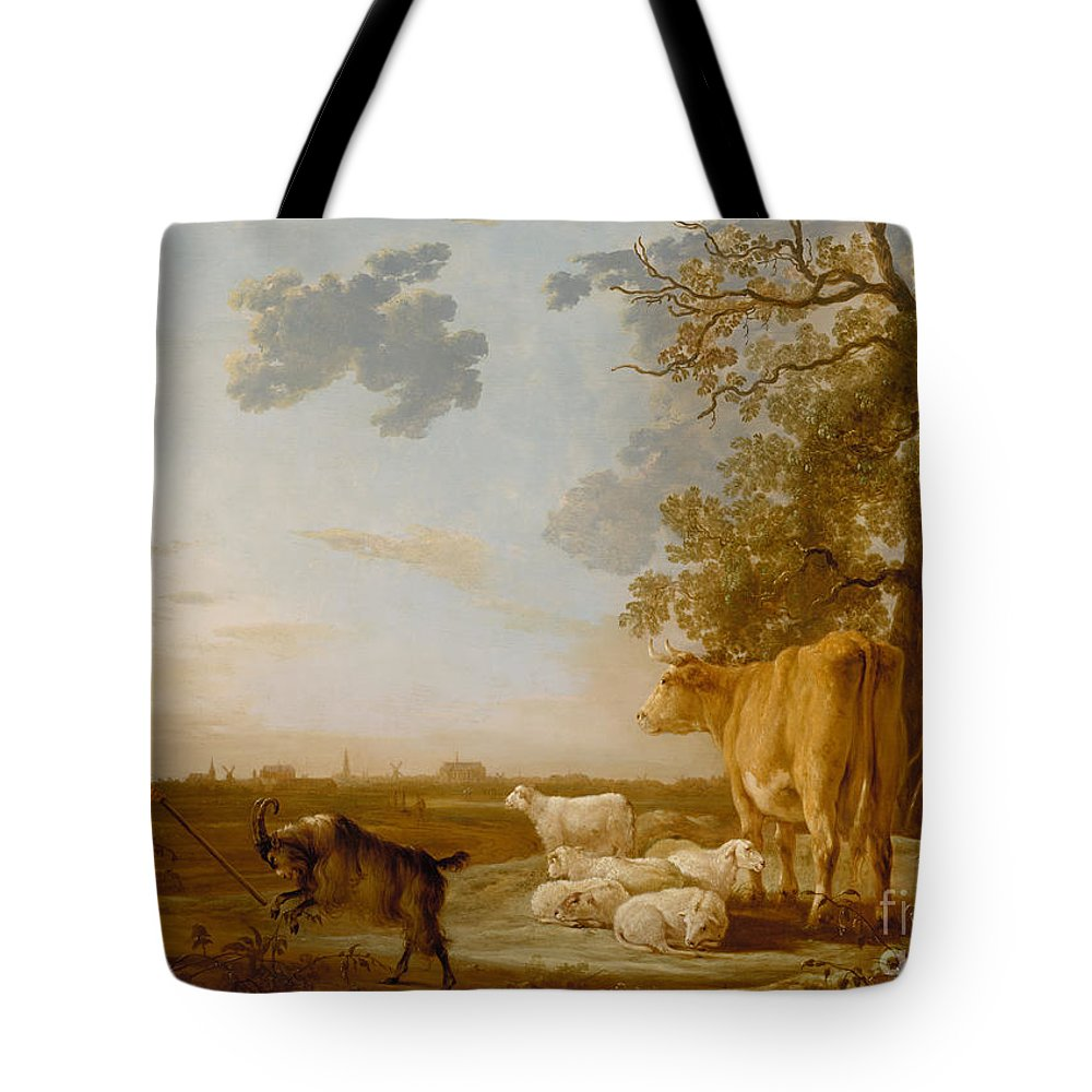 Aelbert Cuyp Tote Bag featuring the painting Landscape With Cattle by Celestial Images