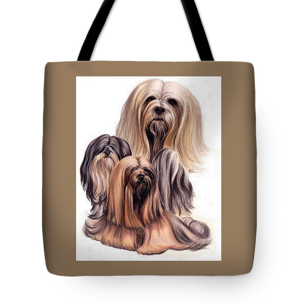 Purebred Tote Bag featuring the drawing Lhasa Apso Triple by Barbara Keith