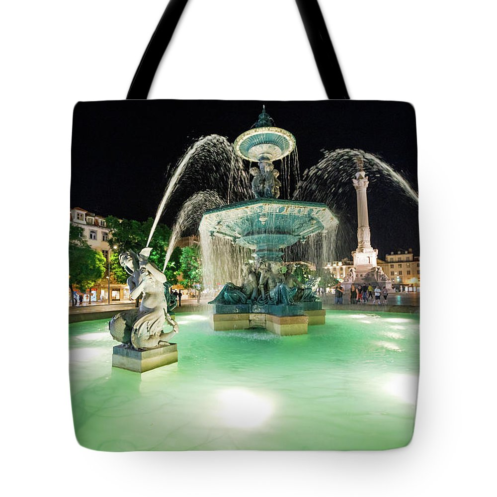 Lisbon Tote Bag featuring the photograph Lisbon By Night by Benny Marty