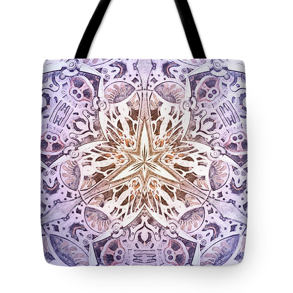 Pencil Sketch Tote Bag featuring the drawing Mechanismadness by Nenad Cerovic