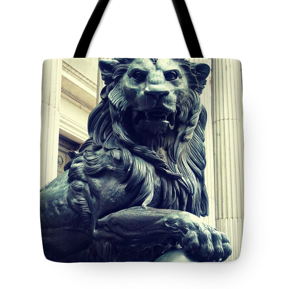 Lion Tote Bag featuring the photograph Melted Iron Guardian by JAMART Photography