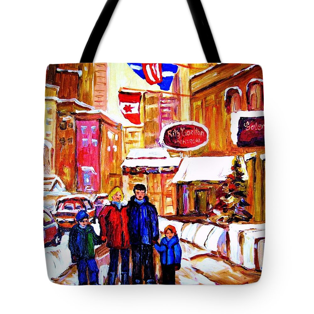 Montreal Tote Bag featuring the painting Montreal Street In Winter by Carole Spandau