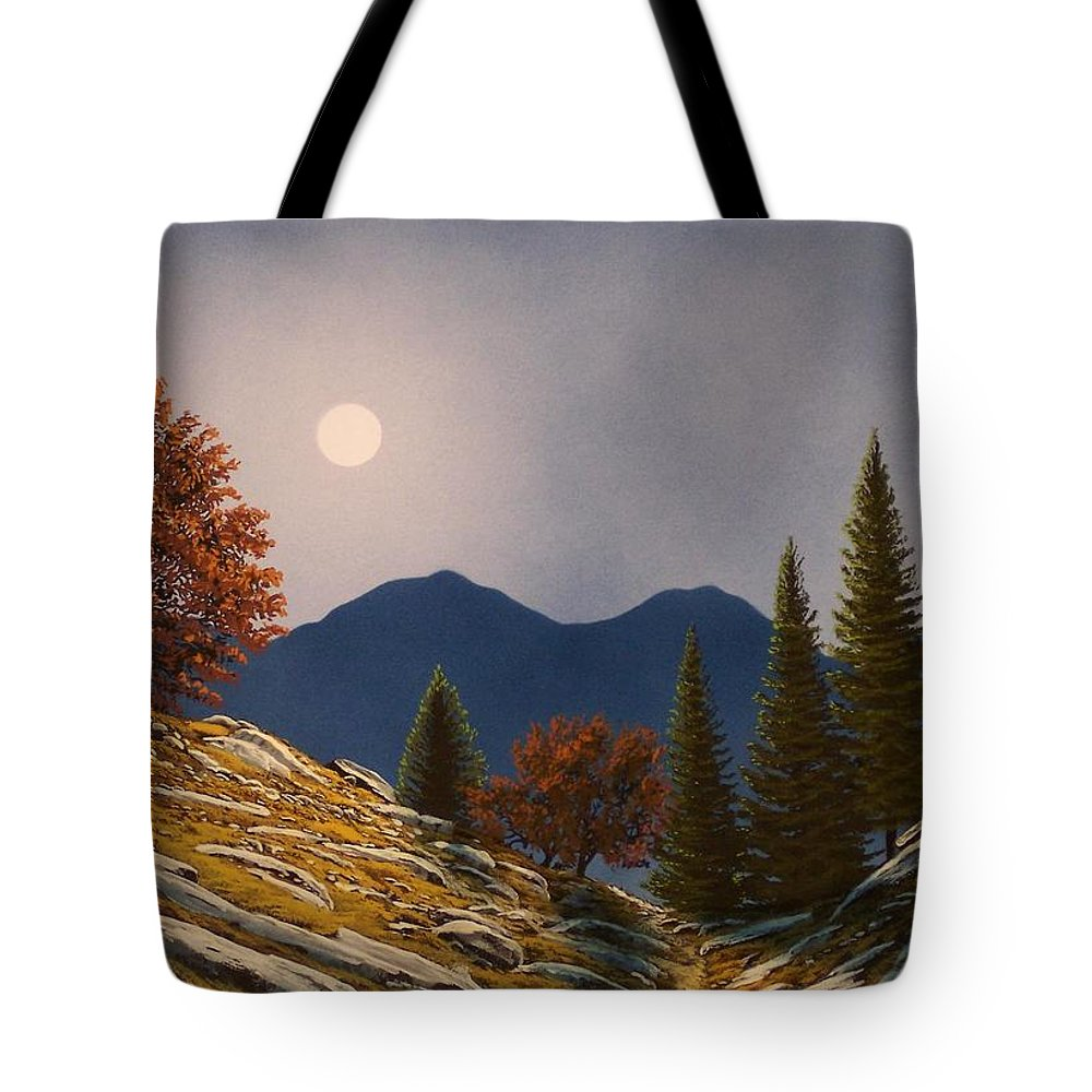 Landscape Tote Bag featuring the painting Mountain Moonrise by Frank Wilson