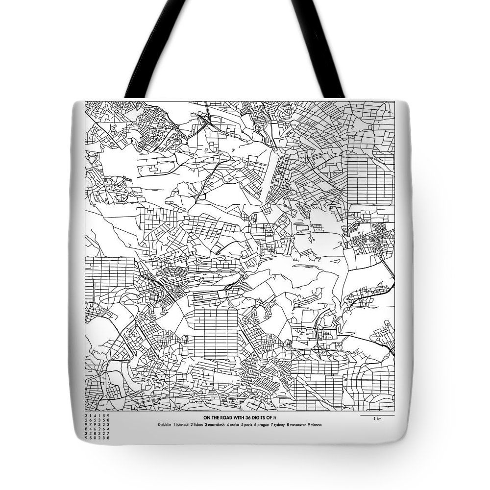 Pi Tote Bag featuring the digital art On The Road With 36 Digits Of Pi by Martin Krzywinski