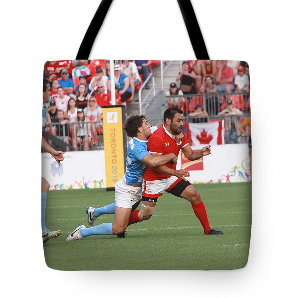 Rugby 7's Tote Bag featuring the photograph Pamam Games Men's Rugby 7's by Hugh McClean
