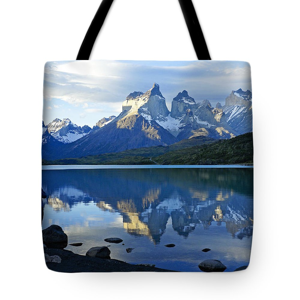 Patagonia Tote Bag featuring the photograph Patagonia Reflection by Michele Burgess