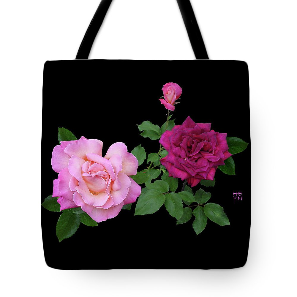 Cutout Tote Bag featuring the photograph 3 Pink Roses Cutout by Shirley Heyn