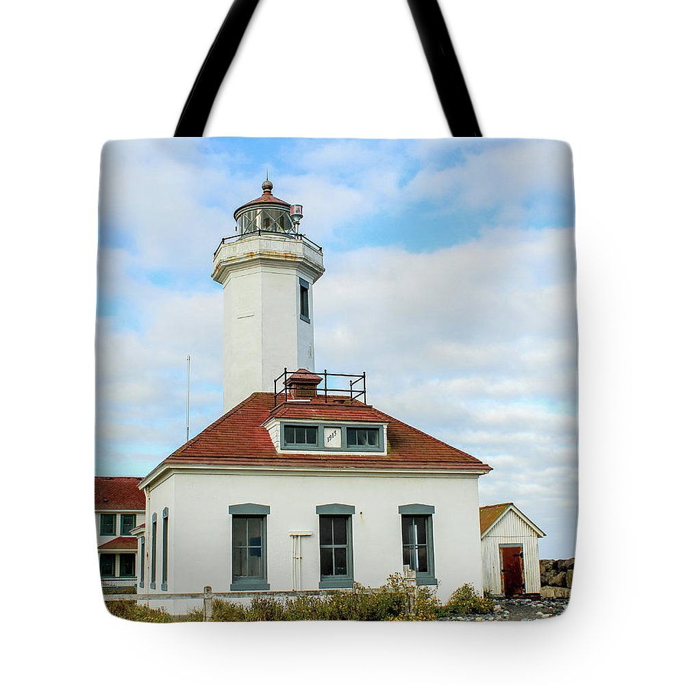 Lighthouse Tote Bag featuring the photograph Point Wilson Lighthouse by E Faithe Lester