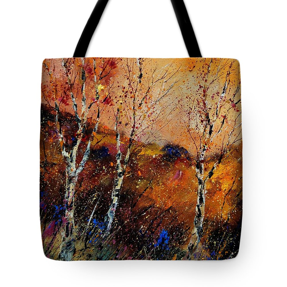 River Tote Bag featuring the painting 3 Poplars by Pol Ledent