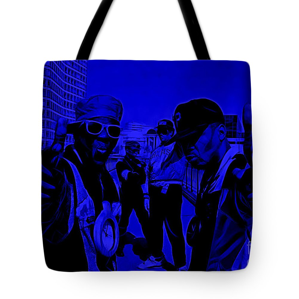 Public Enemy Tote Bag featuring the mixed media Public Enemy Collection by Marvin Blaine