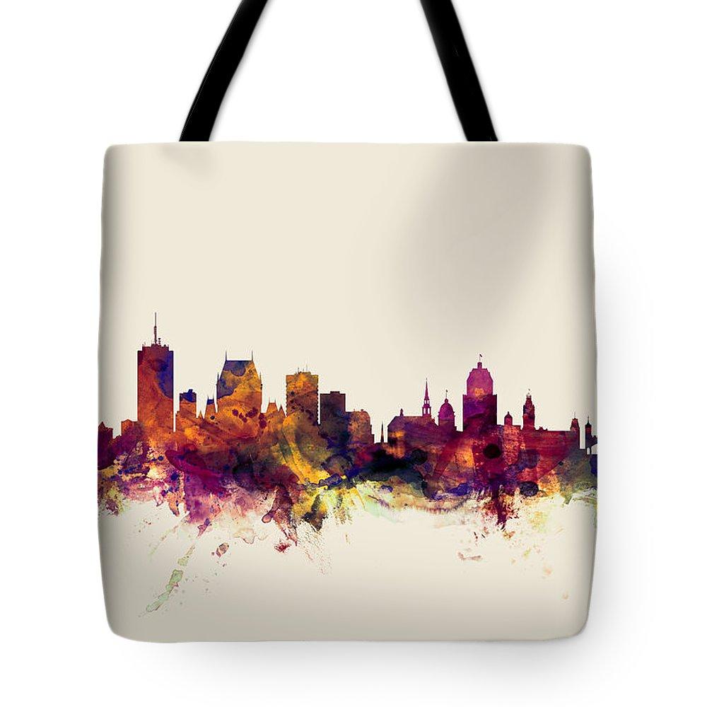 Quebec City Digital Art Tote Bags