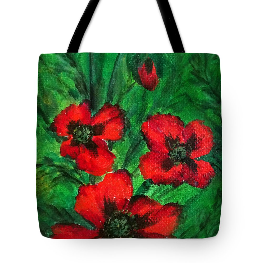 Poppies Tote Bag featuring the painting 3 Red Poppies by Sofia Metal Queen