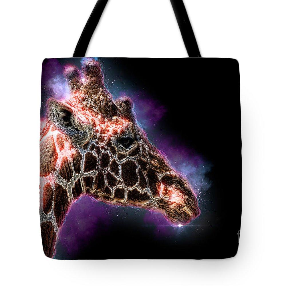 Reticulated Giraffe Tote Bag featuring the photograph Reticulated Giraffe, Samburu, Kenya by Humorous Quotes