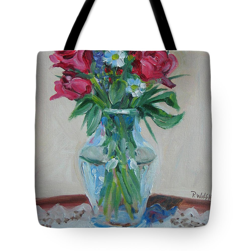 Roses Tote Bag featuring the painting 3 Roses by Paul Walsh
