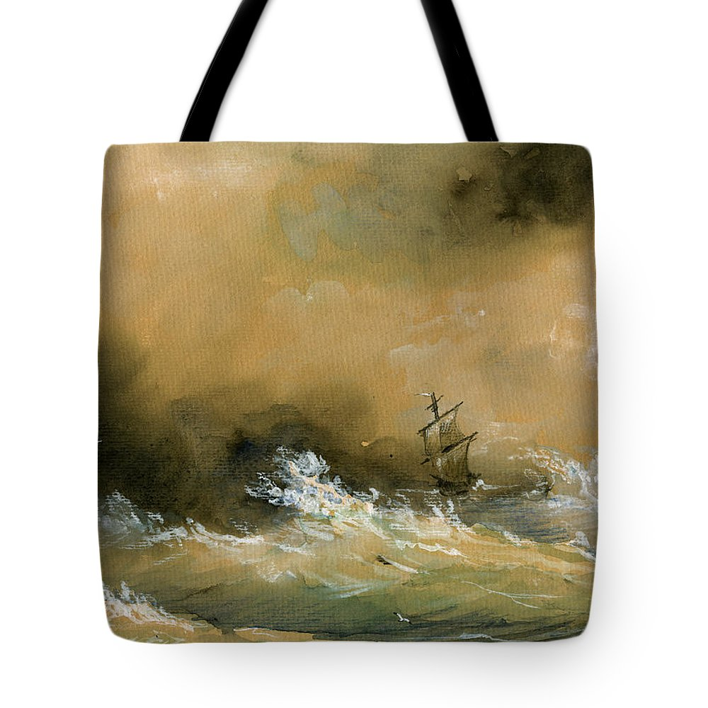 Sail Ship Watercolor Tote Bag featuring the painting Sail Ship Watercolor by Juan Bosco