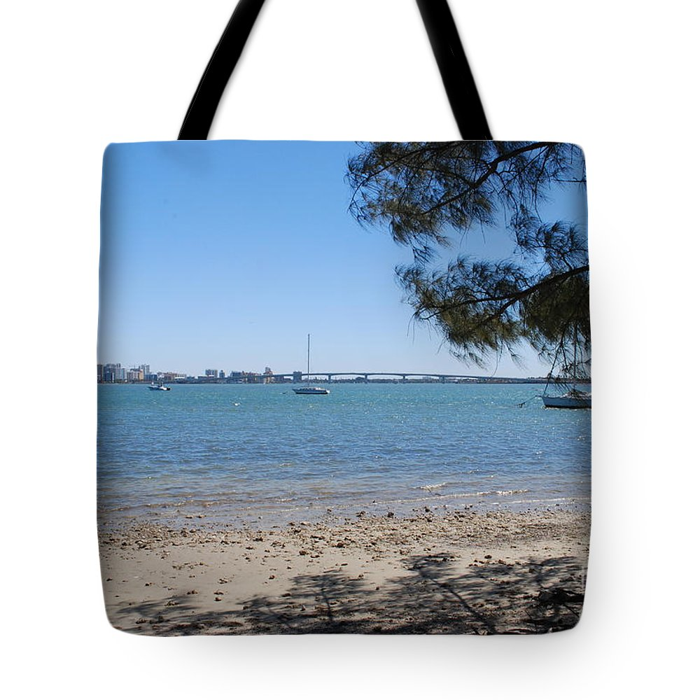 Blue Tote Bag featuring the photograph Sarasota Bay by Gary Wonning