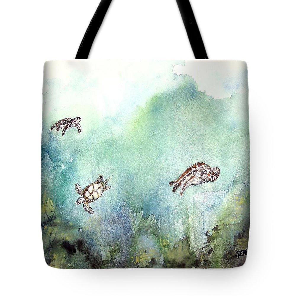 Turtle Tote Bag featuring the painting 3 Sea Turtles by Derek Mccrea