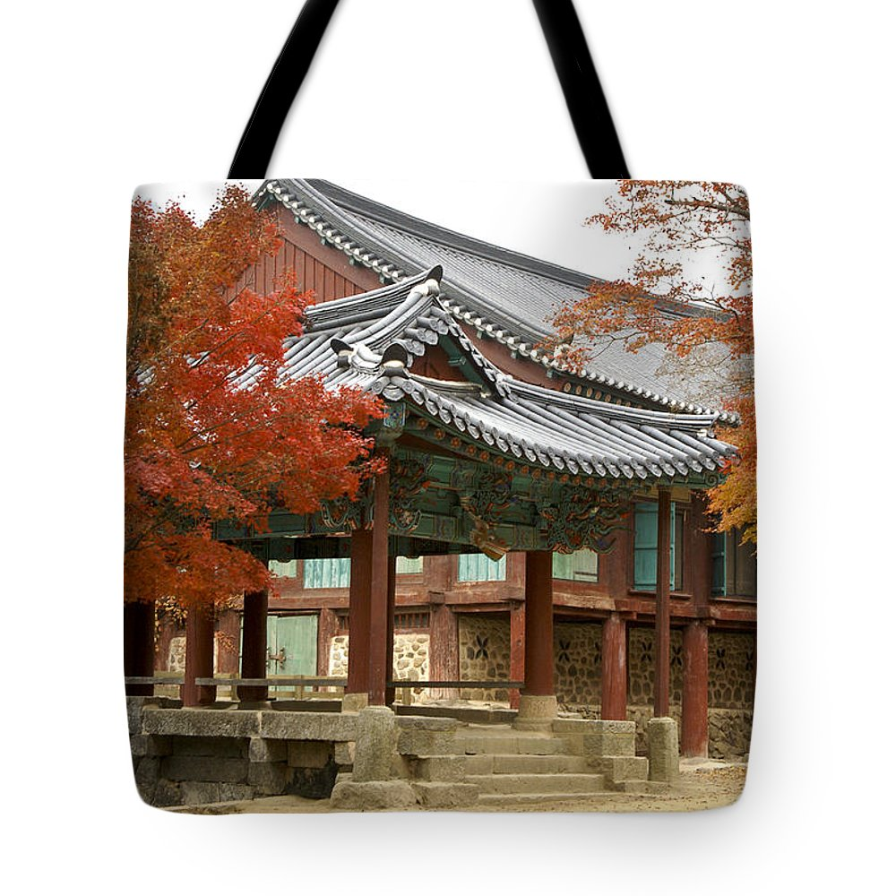 Korea Tote Bag featuring the photograph Seonamsa In Autumn by Michele Burgess