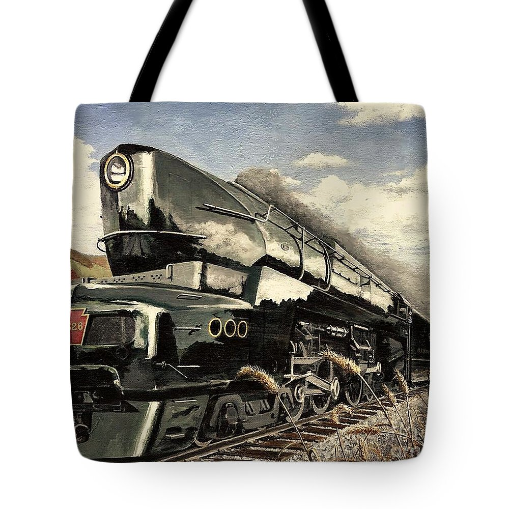 Pennsylvania Railroad Tote Bag featuring the painting Showin Off by David Mittner
