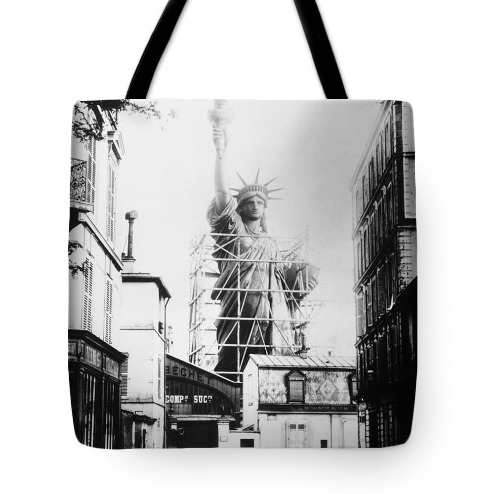 1884 Tote Bag featuring the photograph Statue Of Liberty, Paris 3 by Granger