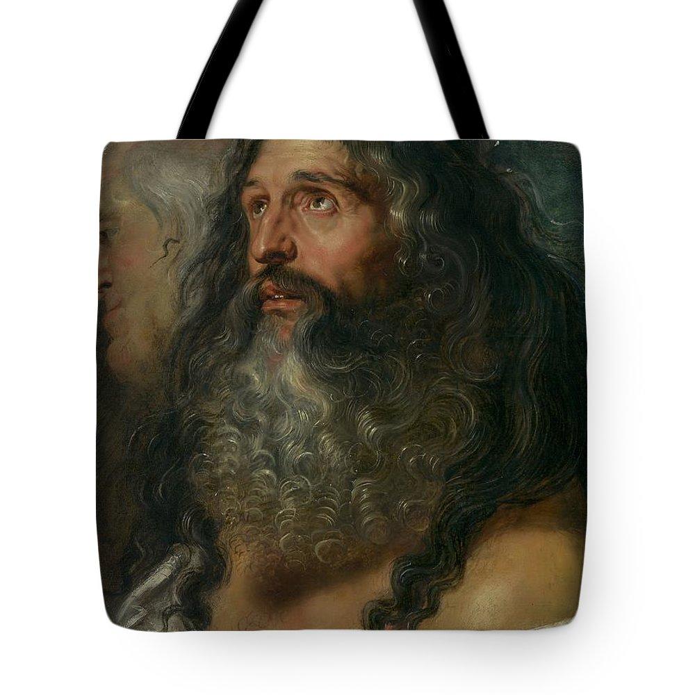 Peter Paul Rubens Study Of Two Heads Tote Bag featuring the painting Study Of Two Heads by Peter Paul Rubens