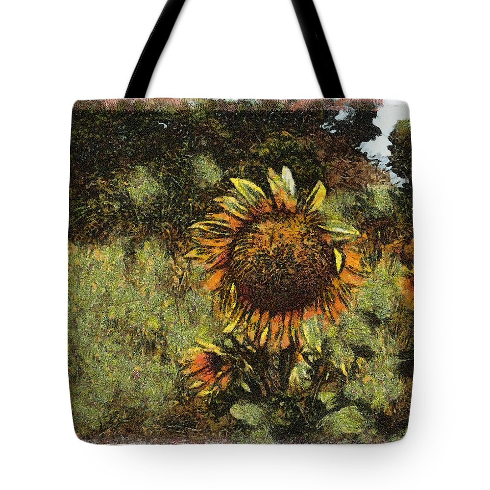 Sunflower Yellow Flower Blue Sky Grass Tote Bag featuring the photograph Sunflower by Galeria Trompiz