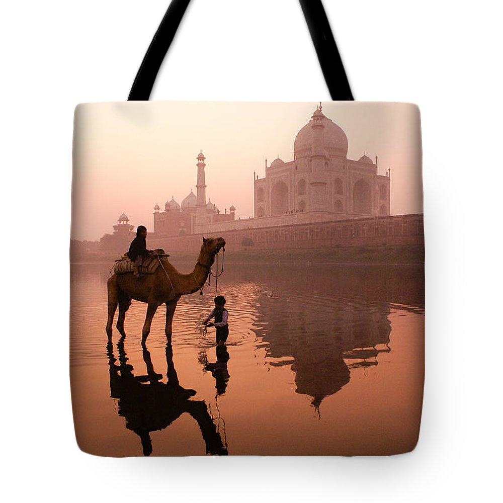 Taj Mahal Tote Bag featuring the photograph Taj Mahal At Dawn by Michele Burgess