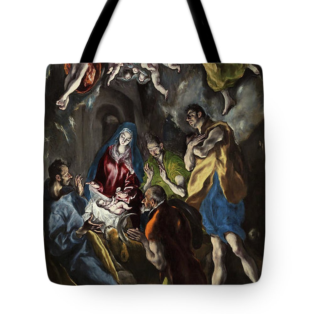 Adoration Tote Bag featuring the painting The Adoration Of The Shepherds by El Greco