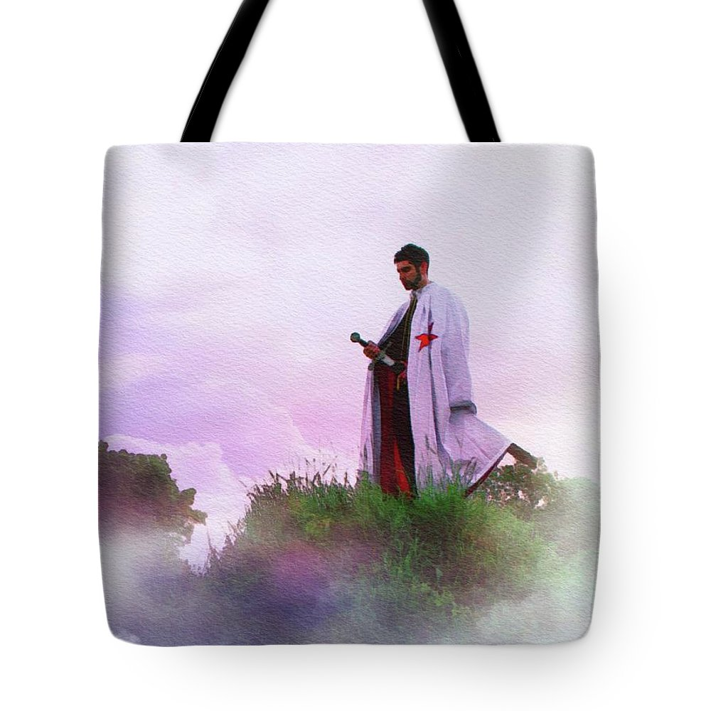 Templar Tote Bag featuring the painting The Lone Crusader - Knights Templar by John Springfield