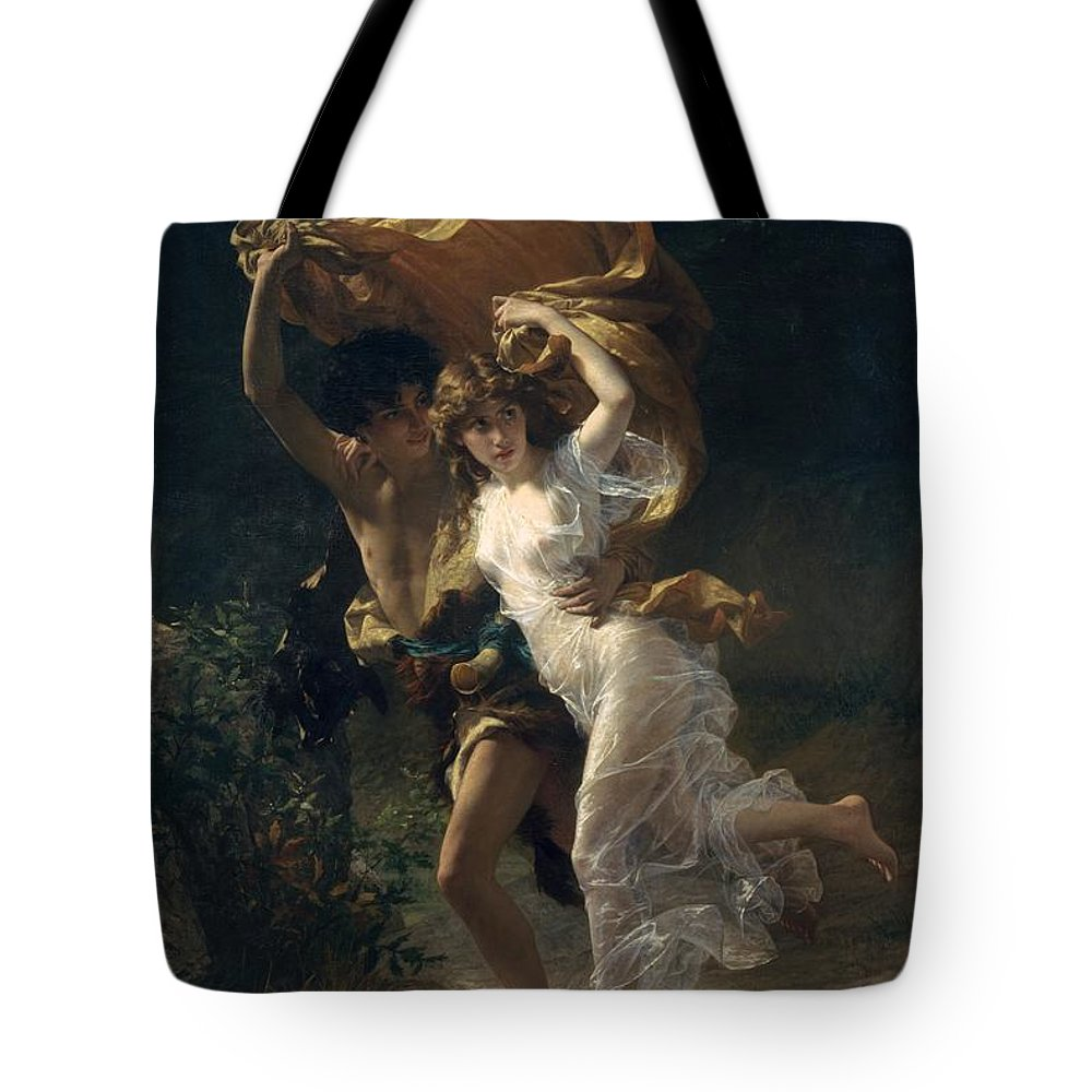 Pierre-auguste Cot The Storm Tote Bag featuring the painting The Storm by Pierre-Auguste Cot