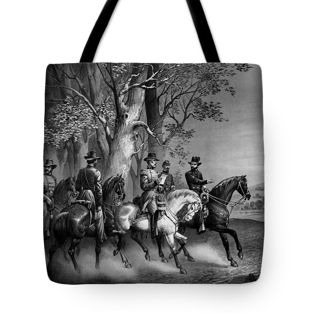 General Grant Tote Bag featuring the drawing The Surrender Of General Lee by War Is Hell Store