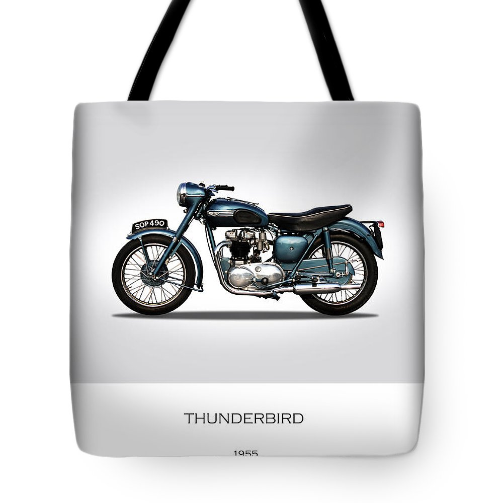 Triumph Thunderbird Tote Bag featuring the photograph Triumph Thunderbird 1955 by Mark Rogan