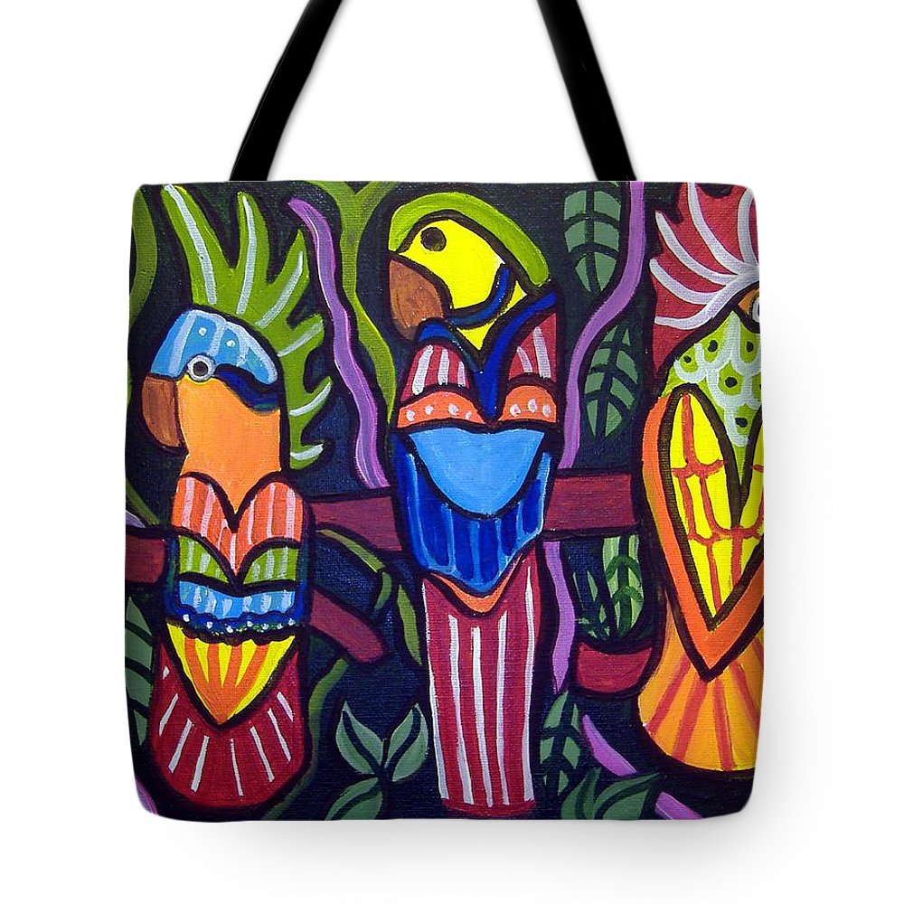 Tropical Tote Bag featuring the painting 3 Tropical Birds by Anggelyka Apostle